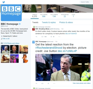 Joe Sutton has his photo used on the BBC Twitter feed, complete with credit.